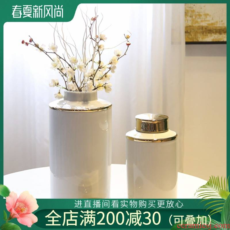 Jingdezhen new Chinese style the general pot of piggy bank furnishing articles sitting room adornment household flower simulation flower decoration ceramics