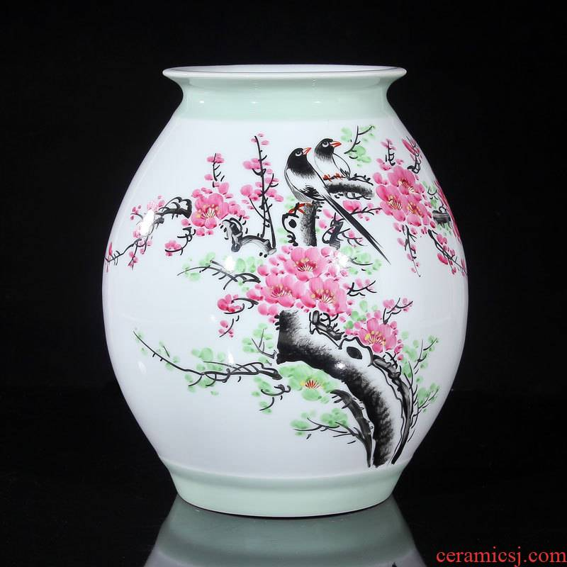 Jingdezhen ceramics vase celebrity virtuosi water points peach blossom put hand - made beaming vase collection certificate