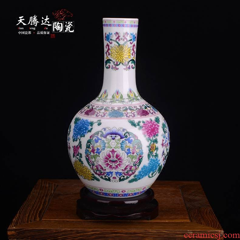 Jingdezhen ceramic vase colored enamel flower imitation of classical Chinese style household decoration decoration crafts