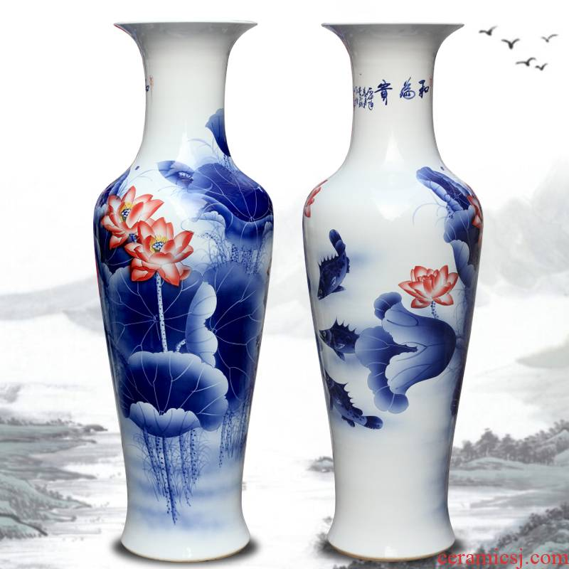 Jingdezhen hand - made every year more than lotus sitting room of large vases, Chinese style household decorative ceramic large - sized furnishing articles