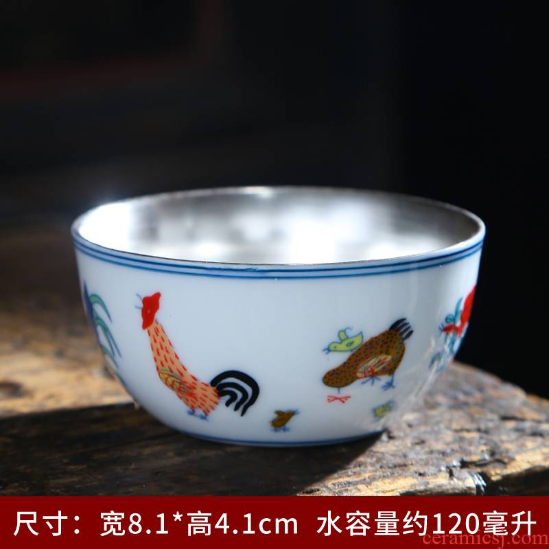 Chicken cylinder cup of blue and white porcelain tea cups porcelain hand - made kung fu tea bowl sample tea cup white porcelain cup single CPU master