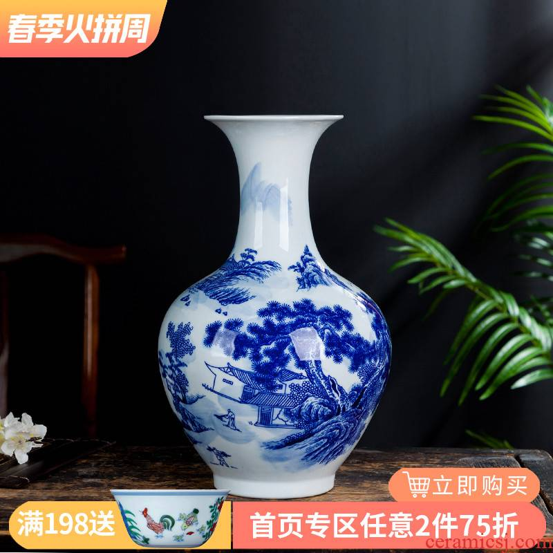 Jingdezhen ceramic blue and white porcelain vases, flower arranging new rich ancient frame the sitting room of Chinese style household decorations TV ark, furnishing articles