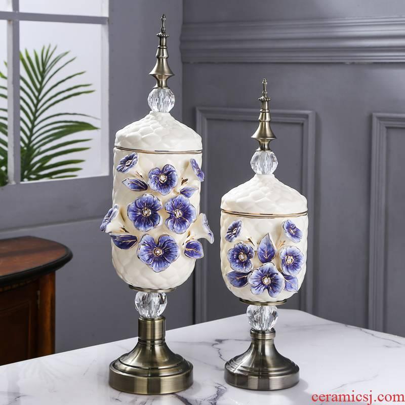 Fort SAN road new royal blue name plum flower vase series suit European ceramic vase and copper decorative vase furnishing articles