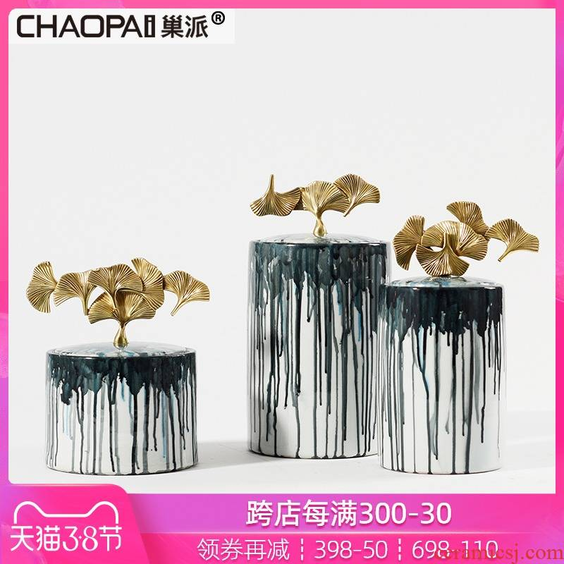 New classical splash ink ceramic postmodern wine porch partition storage tank furnishing articles sample room hall soft decoration