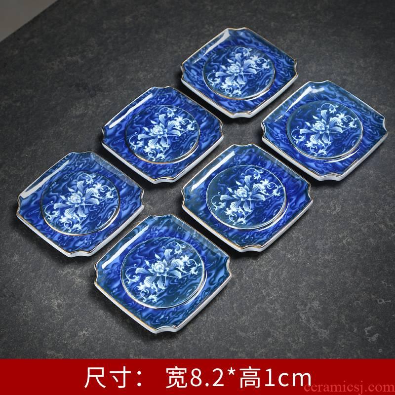 Blue and white porcelain tea cups a shadow Blue cup mat heat - resistant ceramic cup mat kung fu tea tea tea zero household