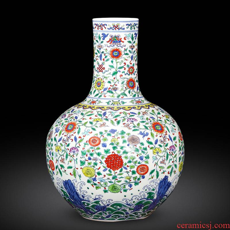 Jingdezhen ceramics imitation yongzheng hand - made color bucket vase Chinese style restoring ancient ways is the sitting room porch home furnishing articles