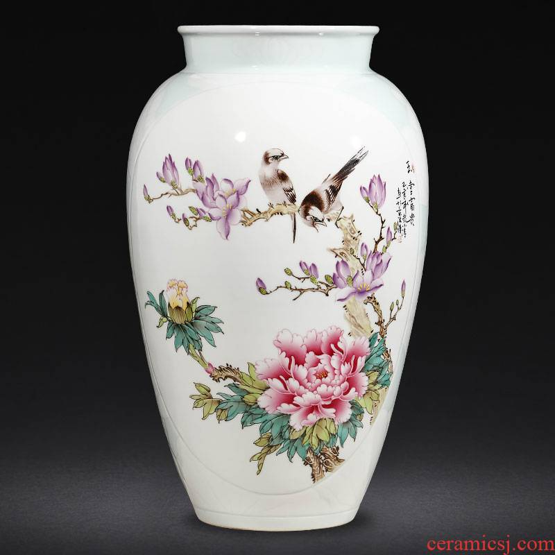 Jingdezhen ceramics famous hand - made enamel vase furnishing articles sitting room flower arranging Chinese style household decoration gifts