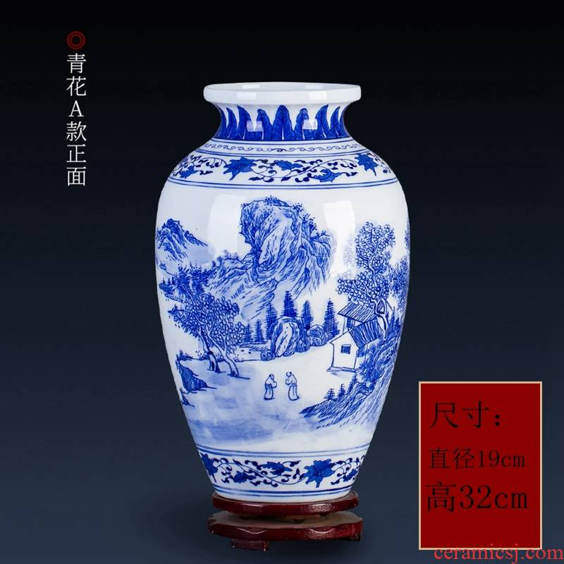Jingdezhen porcelain vase hand - made pervious to light and exquisite landscape vase modern furnishing articles rich ancient frame of Chinese style household decoration