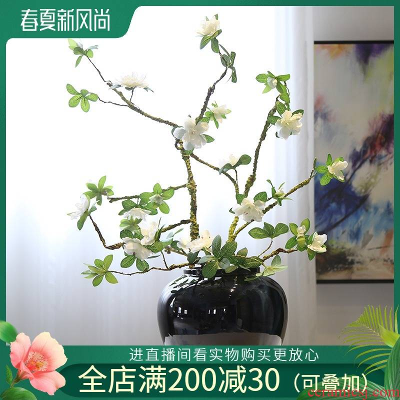 New Chinese style rural TV cabinet mesa ceramic vase porch shoe ark, the desktop decoration flower implement simulation flower receptacle