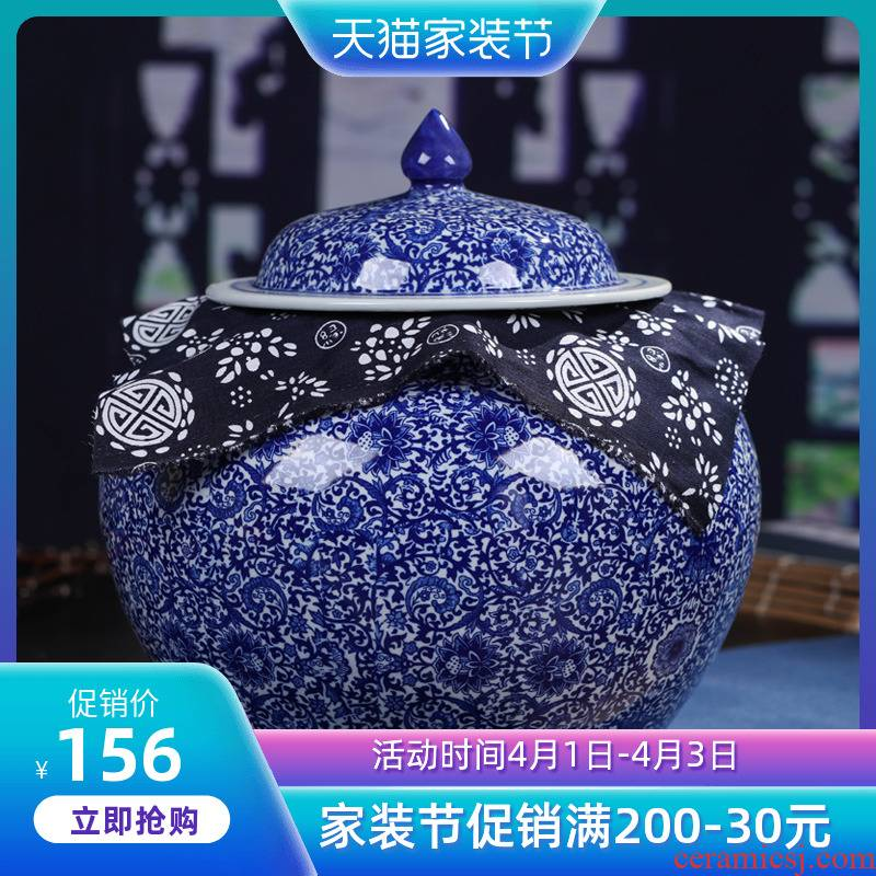 Retro pu 'er tea pot of blue and white porcelain of jingdezhen ceramics POTS in large tea seal pot gift box packaging