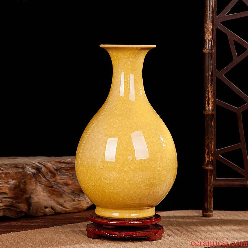 Archaize of jingdezhen ceramics up open yellow vase modern classical household adornment handicraft furnishing articles