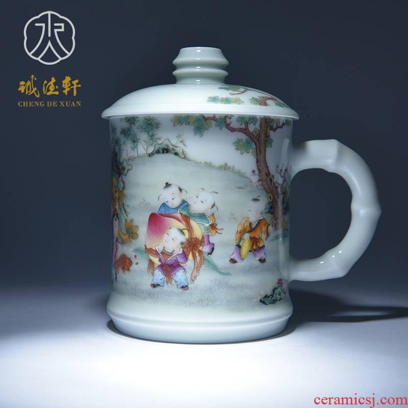 Cheng DE hin kung fu tea set, jingdezhen ceramic powder enamel hand - made big auspicious Thai office cup 12 cups career