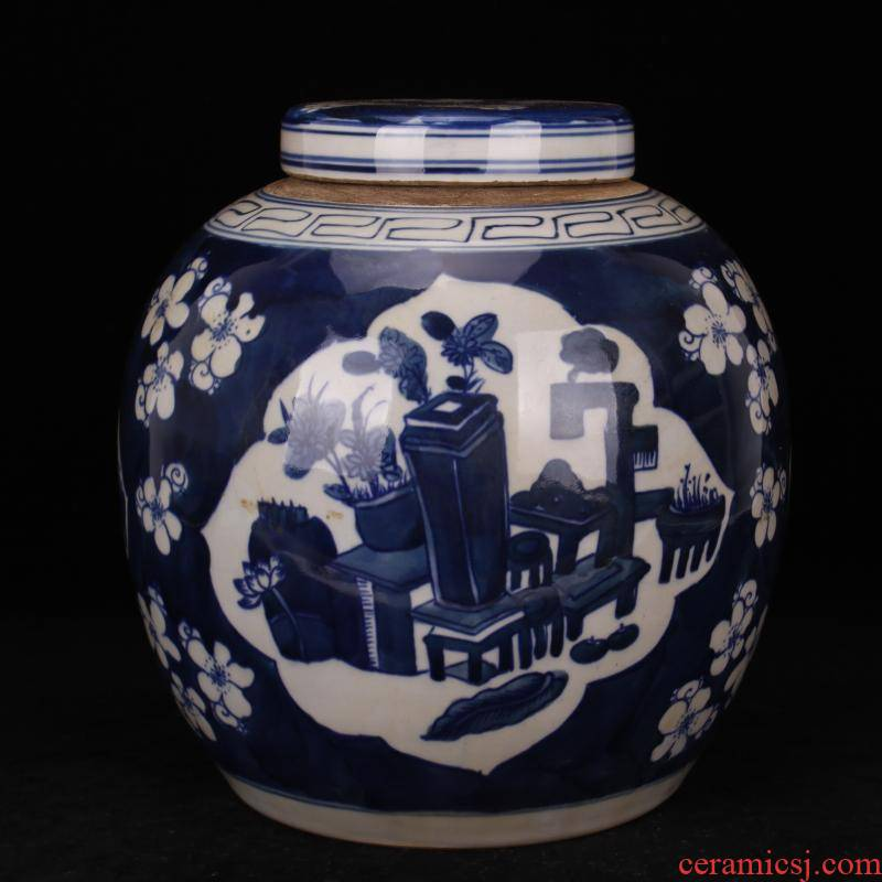 Pure checking porcelain of jingdezhen folk sweet ice name plum old POTS do old and antique reproduction antique collection furnishing articles