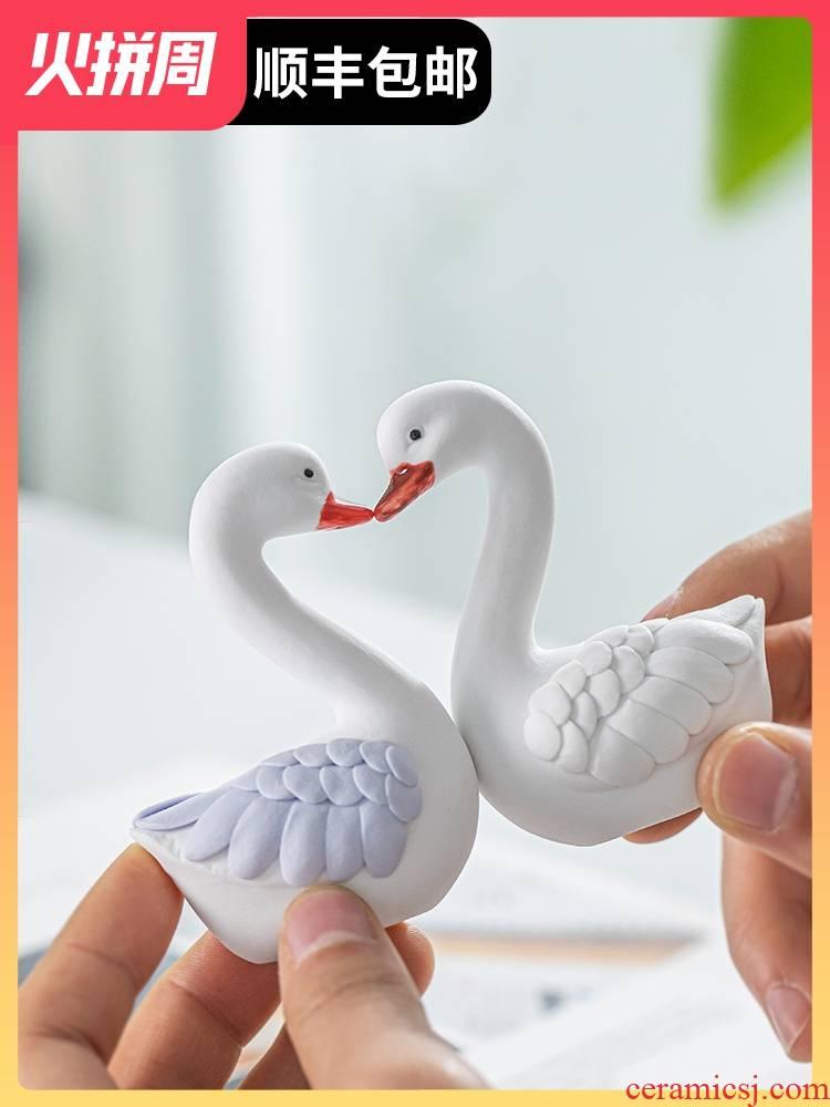Swan, furnishing articles ceramic decoration new girlfriends girlfriend small ornament send picking wedding gift