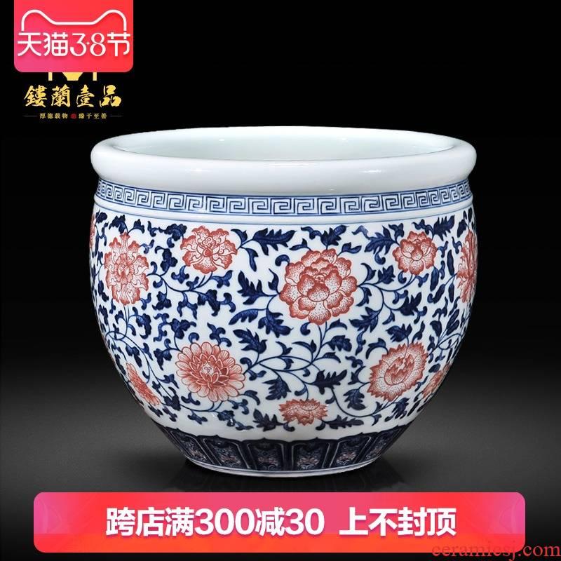 Jingdezhen ceramics ocean 's imitation of the qing qianlong bound branch lotus cylinder new Chinese vase sitting room aquarium furnishing articles writing brush washer
