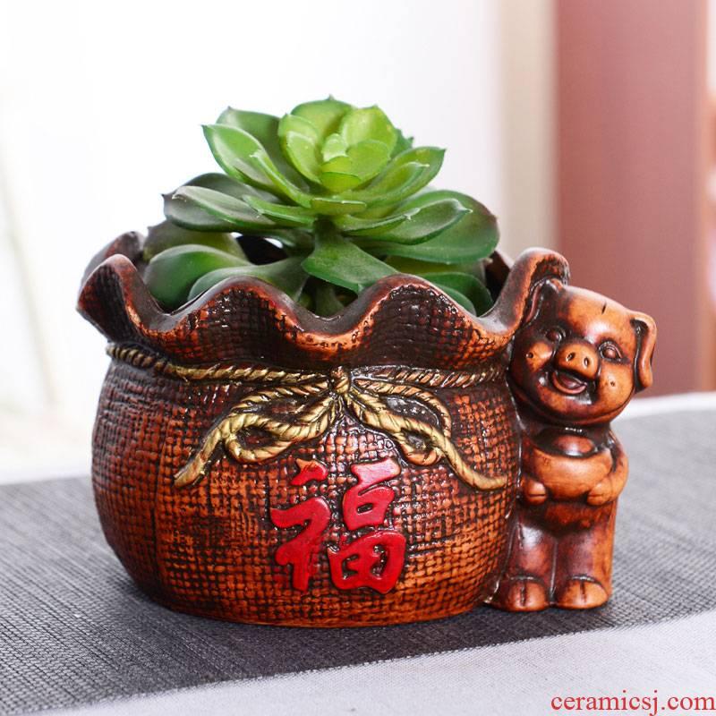 Restoring ancient ways is rich pig ceramic flower pot rich banyan tree European flower implement move flowerpot lucky auspicious pig and flower POTS