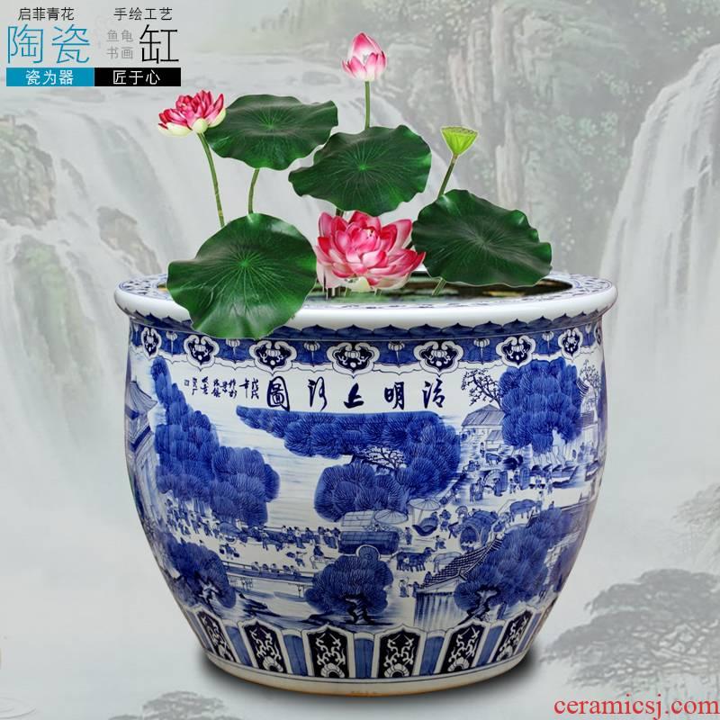Jingdezhen ceramics carp cylinder hand - made ching painting large lotus lotus basin bowl lotus cylinder cylinder tortoise