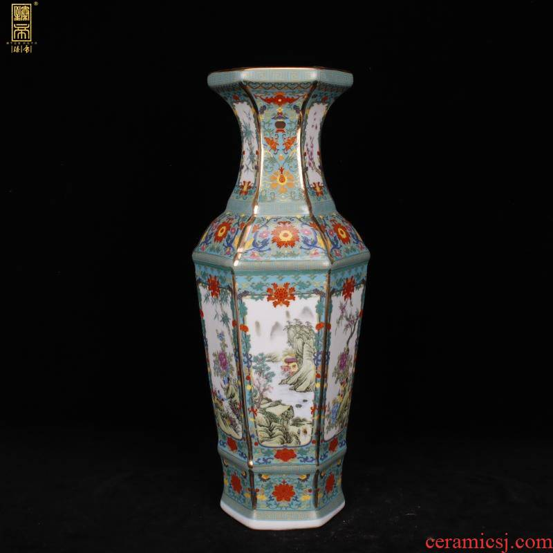 Jingdezhen six - party colored enamel vase imitation qianlong paint painting of flowers and new Chinese style living room decoration antique antique furnishing articles