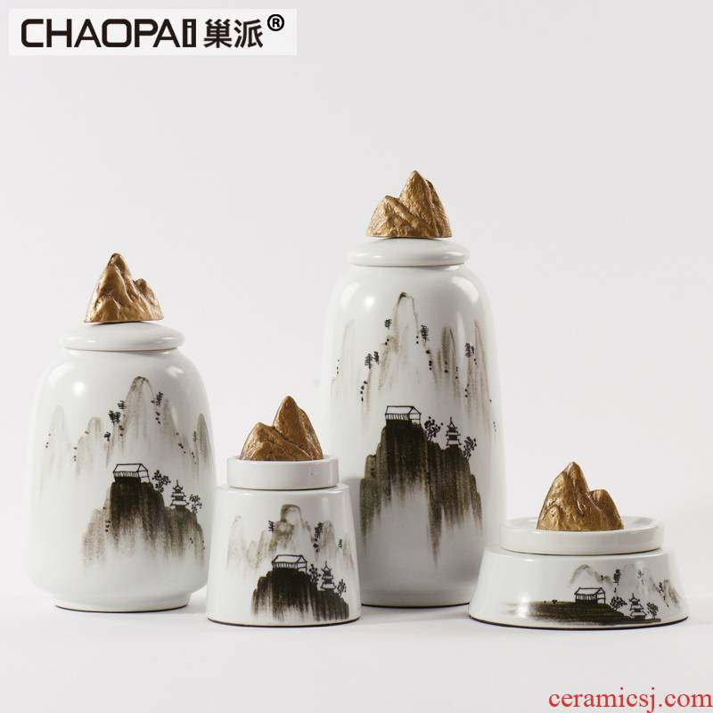 New Chinese style rockery ink painting porcelain pot furnishing articles between example study zen sitting room porch soft outfit office accessories