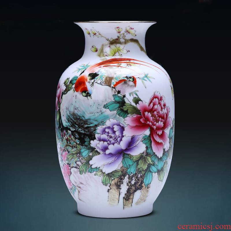 Jingdezhen ceramics powder enamel vase rich winter jasmine flower arrangement sitting room TV ark adornment of Chinese style household furnishing articles