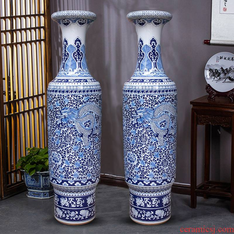 Blue and white porcelain of jingdezhen ceramics yulong, bound branch admiralty large vases, sitting room of Chinese style household hotel furnishing articles