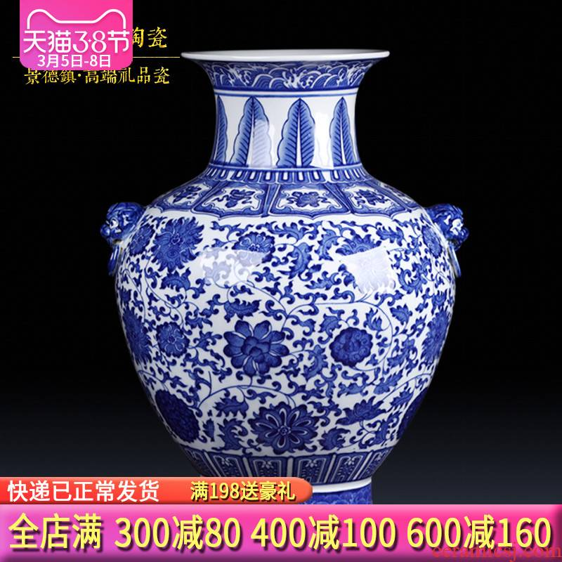 Antique vase of blue and white porcelain of jingdezhen ceramics flower arranging new Chinese style living room TV cabinet porch decorate furnishing articles