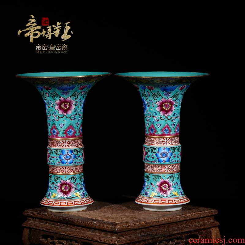 Jingdezhen ceramic vases, high - grade hand - made antique black mushroom powder enamel porcelain flower home sitting room decoration