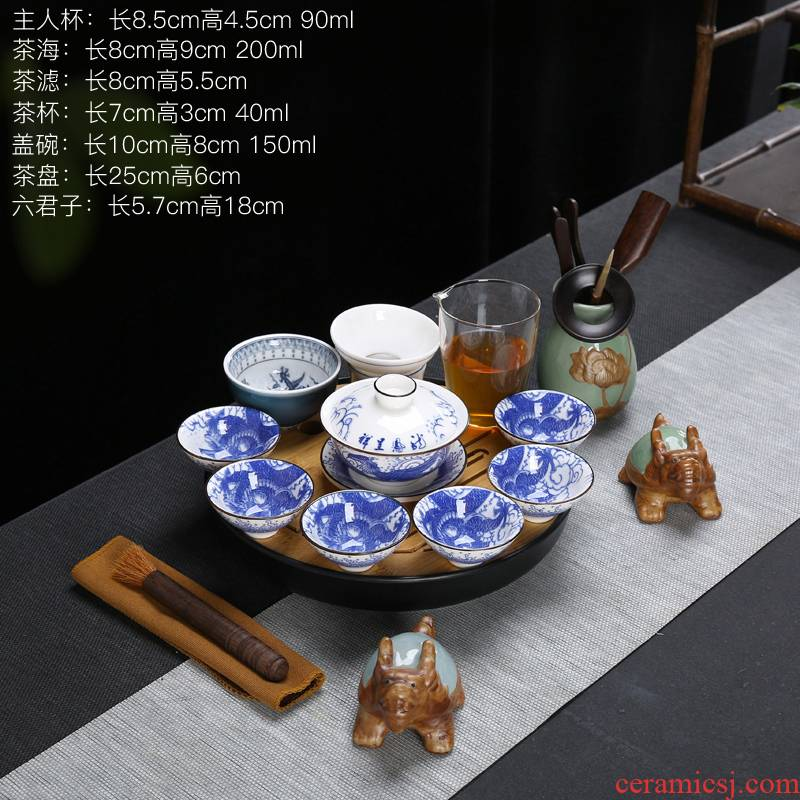 Suet jade white porcelain kung fu tea set contracted household modern ceramic cup lid bowl of a complete set of gift set