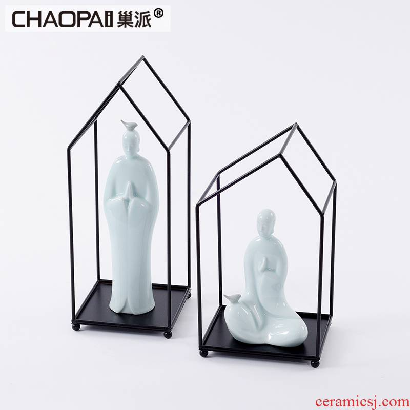 New Chinese style imitation jade ceramic partition screen ano monk Buddha zen accessories sales hall, art furnishing articles