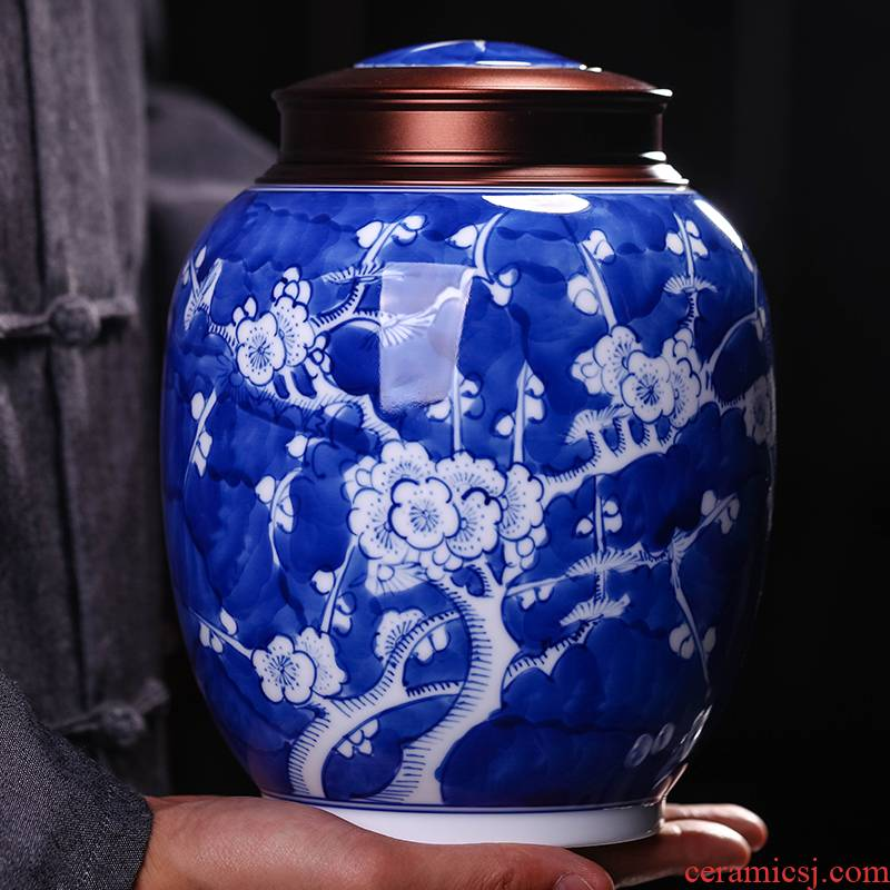 Jingdezhen blue and white porcelain hand - made caddy fixings sealed tank size 1 catty installed storage POTS tea set household moistureproof