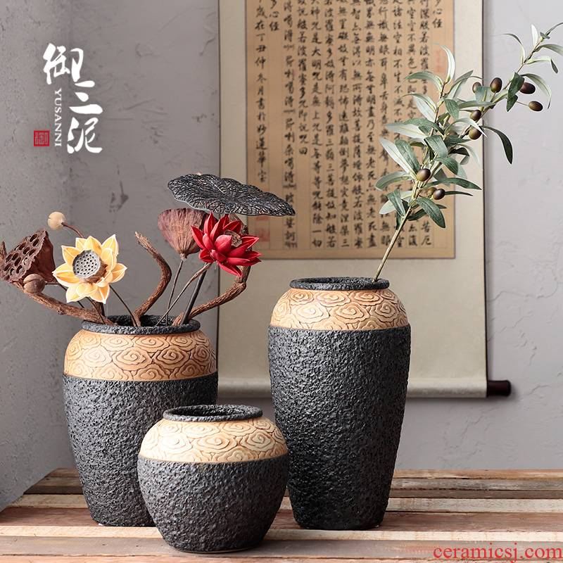 Jingdezhen checking coarse pottery xiangyun Chinese style of black pottery machine dry flower hydroponic flower pot furnishing articles pottery crispy noodles