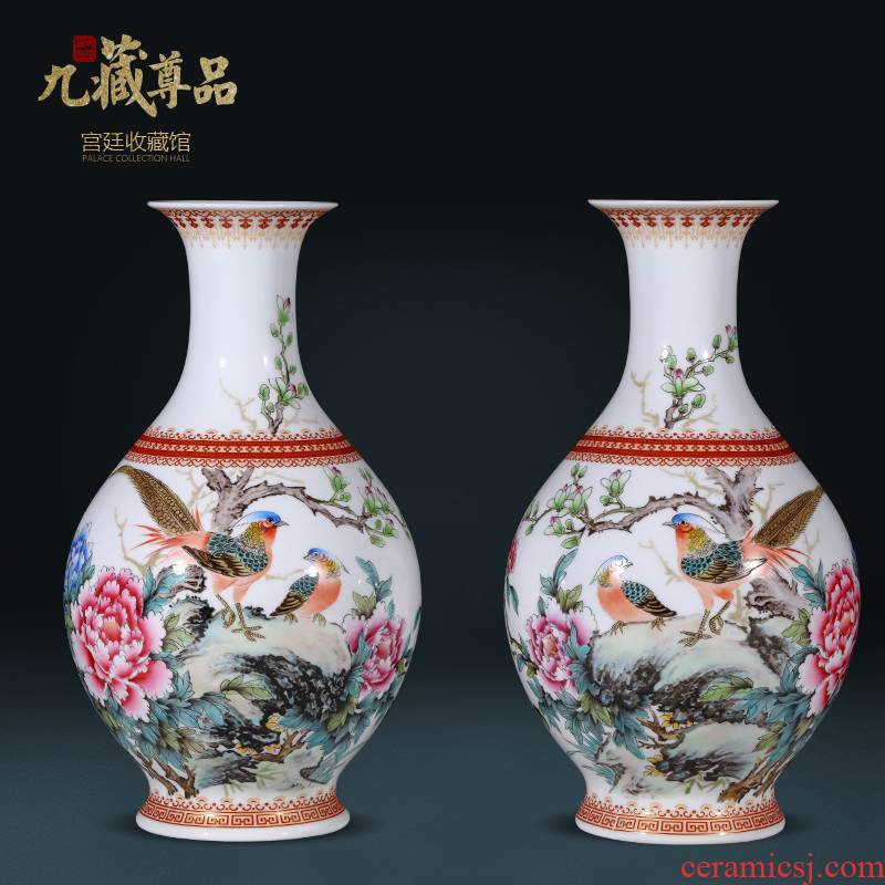 The Master of jingdezhen ceramics hand - made vases, Chinese style living room TV cabinet rich ancient frame flower arranging porch is decorated furnishing articles