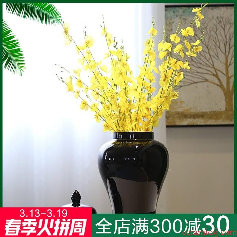 General jingdezhen ceramic vase, black mesa of new Chinese style tea pot candy jar decorative flower furnishing articles