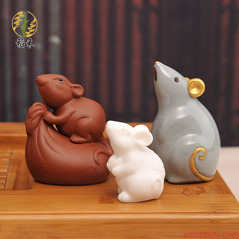 Year of the rat creative Chinese zodiac mouse furnishing articles home sitting room adornment your up with violet arenaceous white porcelain tea table tea