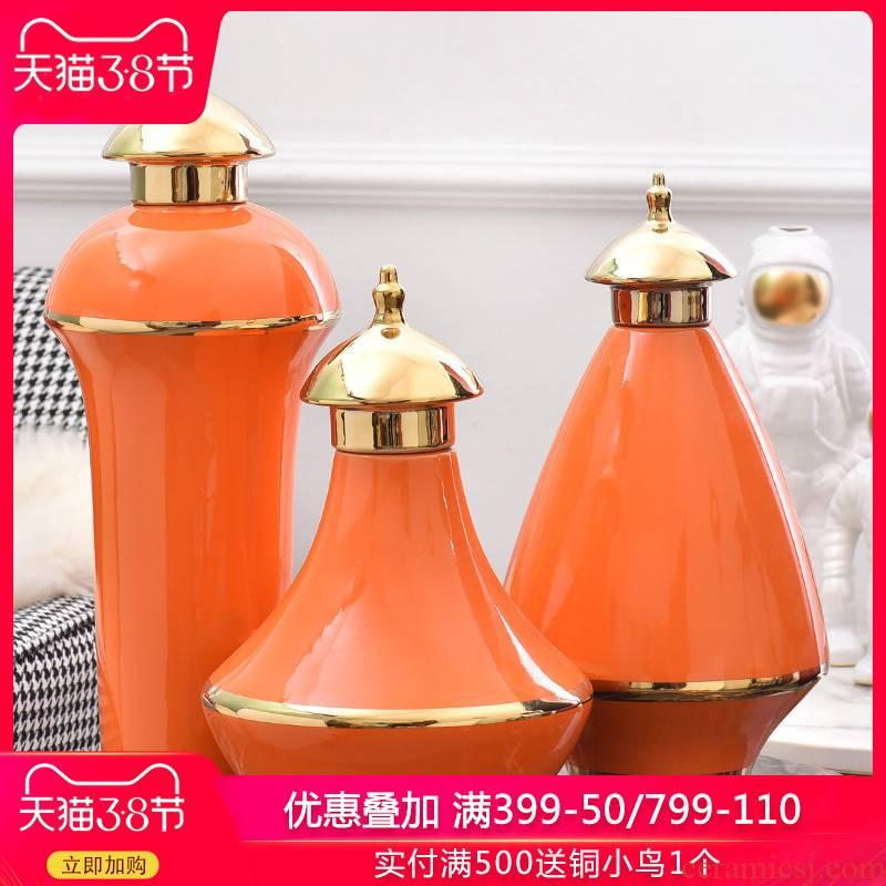 Light key-2 luxury furnishing articles American ceramic vase up phnom penh hotel club house wine porch H1072 creative home soft decoration