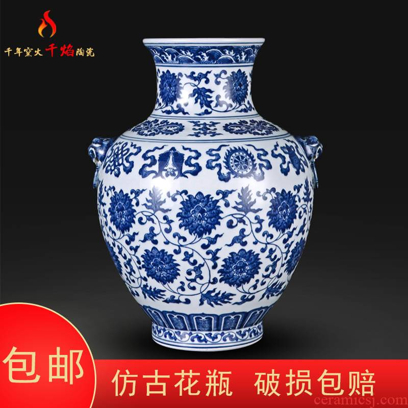 Jingdezhen ceramic hand - made put lotus flower ear vase of blue and white porcelain flower arranging rich ancient frame sitting room of Chinese style household furnishing articles