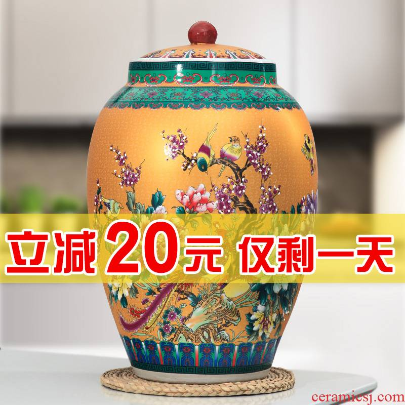 Jingdezhen household ceramics moistureproof cylinder barrel ricer box 20 jins 30 jins 50 pounds with cover cylinder tank storage tank