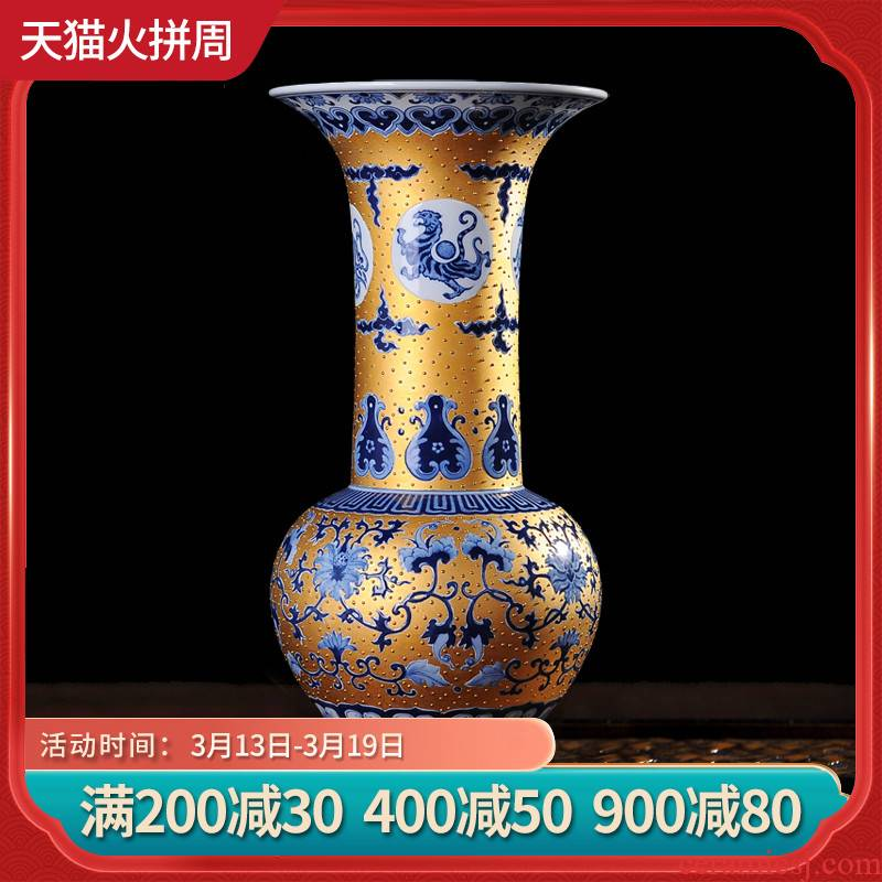 Jingdezhen ceramics gold hand - made modern household craft sitting room place emperor of blue and white porcelain vase