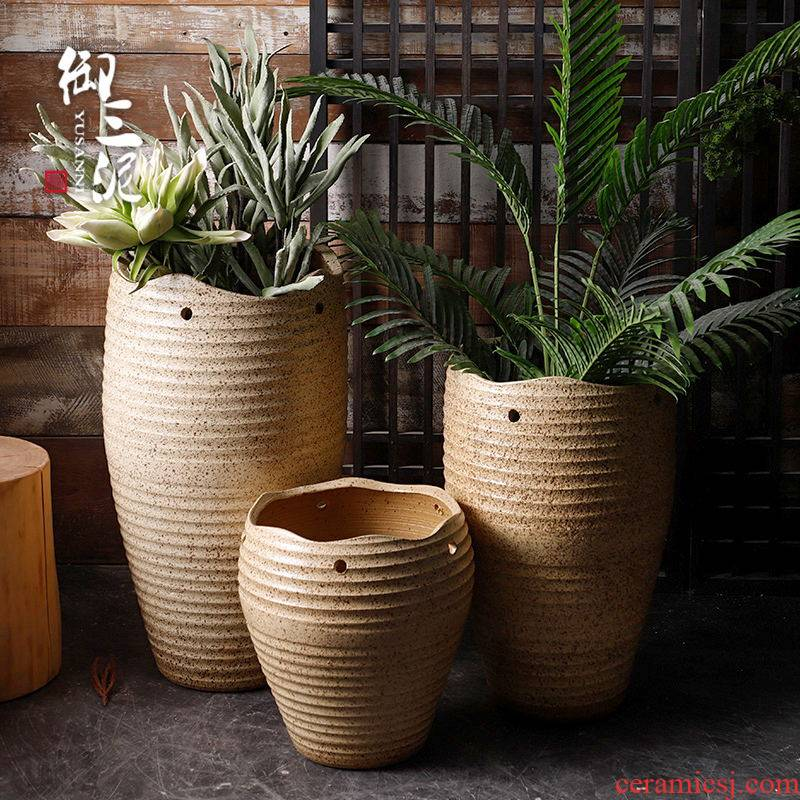 Retro coarse pottery flowerpot planting green plant pot art garden decorative dried flowers place jingdezhen hand basin