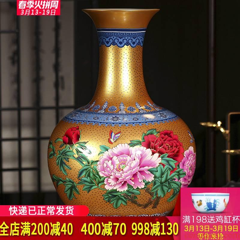 Jingdezhen ceramics European golden peony of large vases, flowers in the living room home decoration handicraft furnishing articles