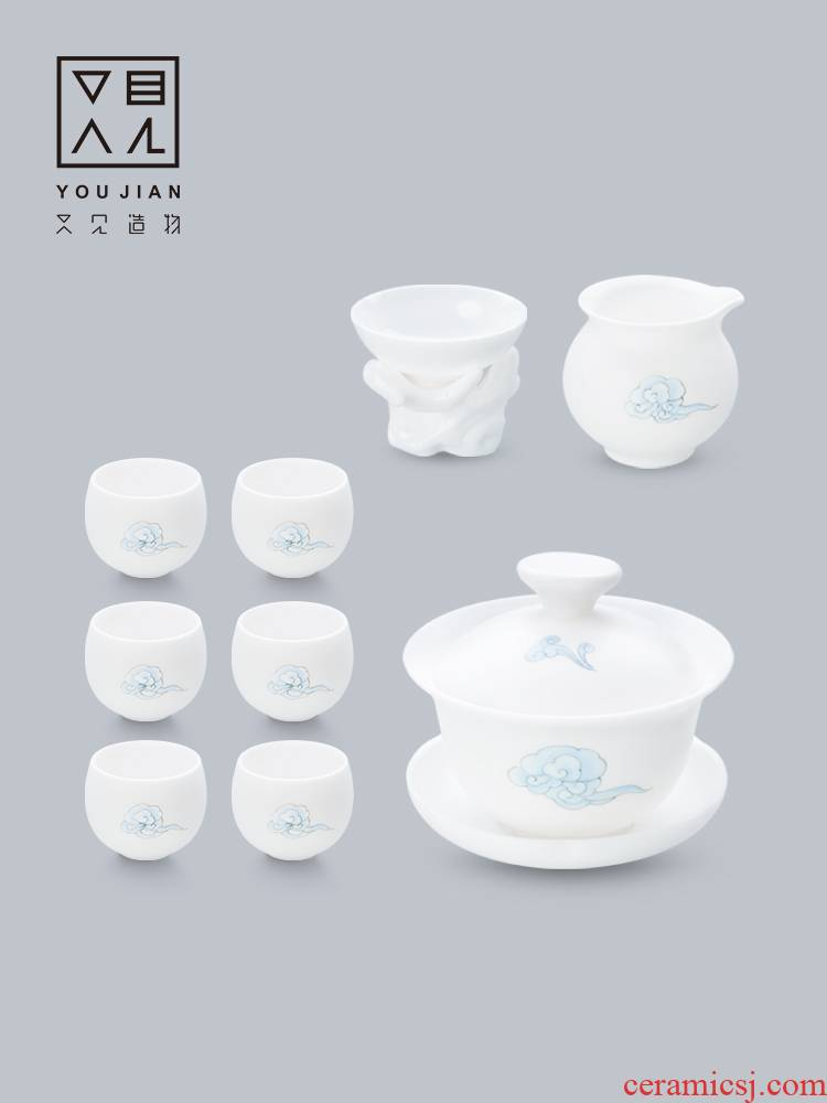 And creation of dehua white porcelain hand - made kung fu tea set suit household contracted tureen tea cups 9 piece combination