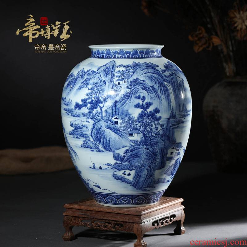 Jingdezhen ceramics hand - made antique pine Yin amorous feelings of blue and white porcelain vases, large sitting room adornment is placed
