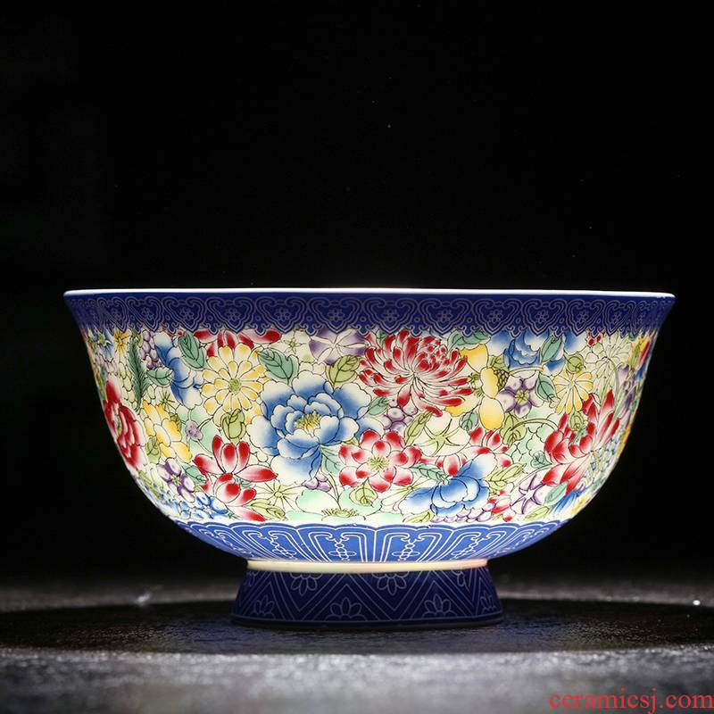 Ceramic tableware rice bowls of Chinese style household mercifully rainbow such as bowl five inches colored enamel microwave bowl of antique gift to use