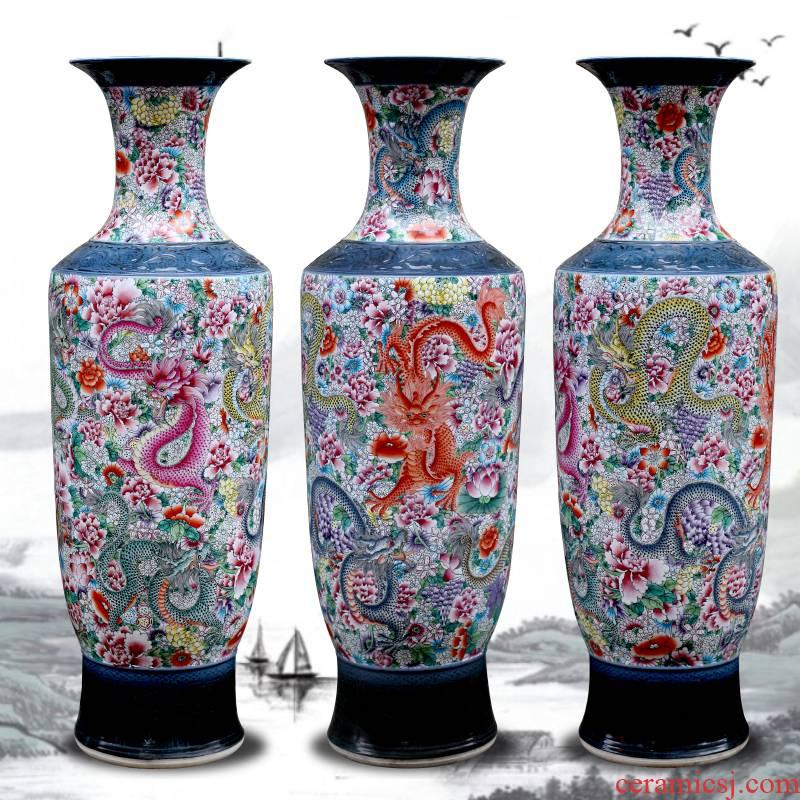 Jingdezhen hand - made big famille rose porcelain vase dragon large sitting room ground hotel furnishing articles porcelain gifts
