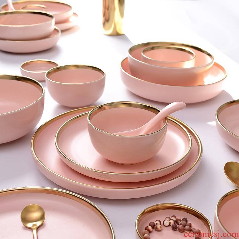 Jane 's modern up phnom penh ceramic tableware household rice bowl dish dish food dish spoon, soup bowl rainbow such as bowl dish suits for