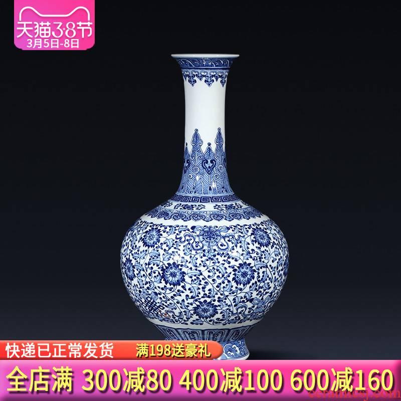 Jingdezhen ceramics imitation qianlong new Chinese blue and white porcelain vases, flower arrangement sitting room porch rich ancient frame furnishing articles