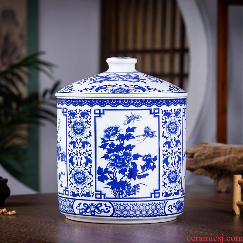 Jingdezhen ceramic seal as cans of blue and white porcelain tea caddy fixings bread seven storage barrel drum extra large household decoration