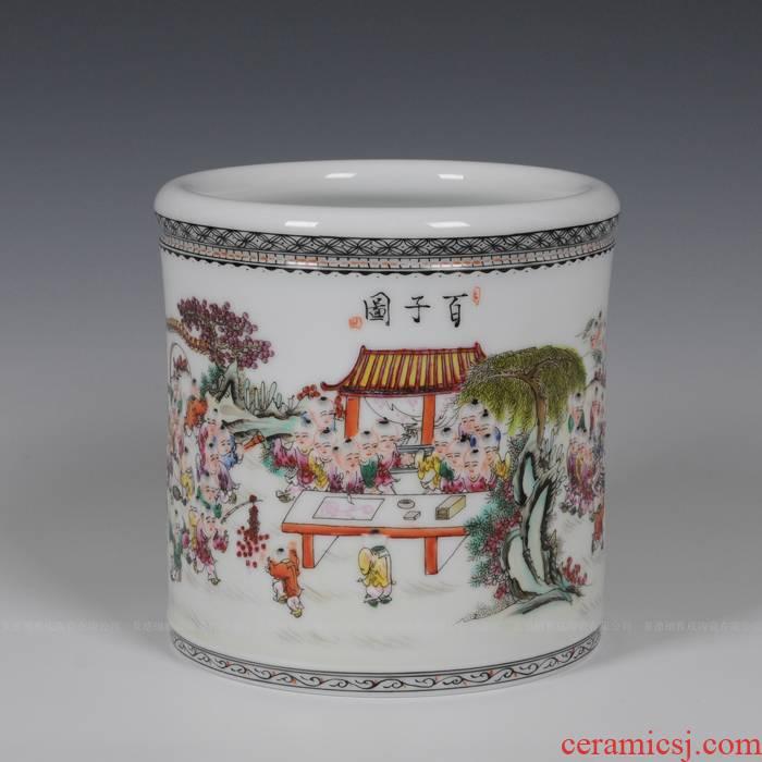Jingdezhen ceramic brush pot fashion vase on January 1, modern ceramic product practical send the teacher crafts
