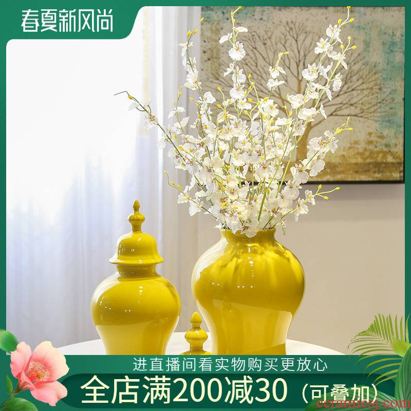 Jingdezhen ceramic new Chinese style living room TV cabinet mesa vase furnishing articles decorative flower arranging flower implement simulation flowers, artificial flowers