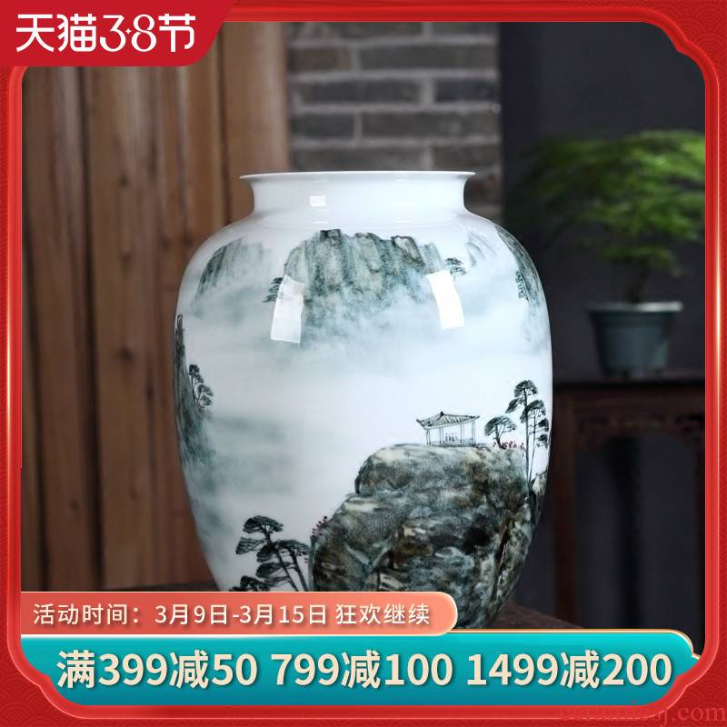 Jingdezhen ceramics famous hand - made scenery of huangshan sea of clouds, large vases, home sitting room adornment is placed